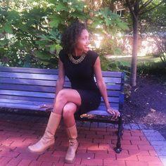 Peep my goodwill boots #ootd  Trend: black & beige #trendy4tmrw #collegefashionista #fashiongram #fashionblogger