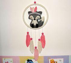Wool Felt Fox Dream Catcher, Room Decor, Wall Decor, Felt Gray Fox, Baby, Nursery Decor, Girl Gift, Baby Shower, Dreamcatcher, Baby Mobile