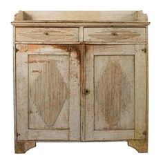 Sweden. Light yellow painted wood Gustavian sideboard with reeded lozenge detail. ca1780. h52w46d17