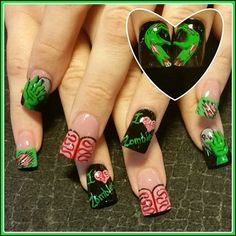 zombie love by Oli123 - Nail Art Gallery nailartgallery.nailsmag.com by Nails Magazine www.nailsmag.com #nailart