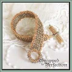 Gold & Aqua Bracelet / Peyote / Bangle / by WrappedToPerfection, $99.00