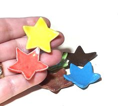 Star Mini Dishes Set of 6 Colorful Ceramic by midnightcoiler