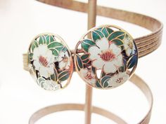 Grey Flower Clip Earrings, Cloisonne Earrings -by FemByDesign- Click Here For More Pictures: https://www.etsy.com/listing/207433543/flower-clip-earrings-cloisonne-earrings?ref=shop_home_active_21 Now ONLY $18.99!