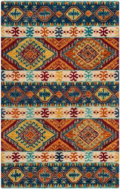 Rug - Aspen Area Rugs by Safavieh Casual Home Decor, Rustic Chic Decor, Southwestern Area Rugs, Navy Rug, Patterned Carpet, Modern Carpet, Persian Carpet, Tribal Art, Rugs On Carpet