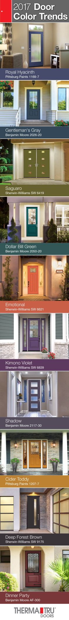 Therma-Tru strives to offer its customers up-to-date products with options that meet current trends along with resources to learn how to keep up with those trends. Door color trends are provided to help homeowners decide which door color fits their home and personality. View Therma-Tru's profile for all 10 of the 2017 Door Colors.