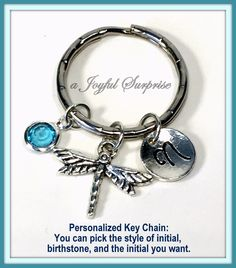 SALE - Personalized Dragon fly Keychain, Dragonfly Key chain, Silver Dragonfly Keyring, Custom Gardener's Gift  A personal favorite from my Etsy shop https://www.etsy.com/ca/listing/266014615/sale-personalized-dragon-fly-keychain