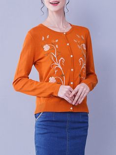 Shop Cardigans - Orange Embroidered Crew Neck Cotton-blend Casual Cardigan online. Discover unique designers fashion at StyleWe.com.