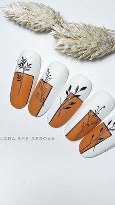Flower Nail Designs, Fall Nail Designs, Cute Nails, Pretty Nails, Nail Art Modele, Manicure E Pedicure, Autumn Nails, Beautiful Nail Designs, Gel Nail Art