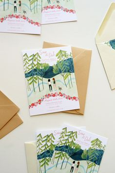 custom adirondacks wedding stationery illustrated by Katie Harnett by @jollyedition