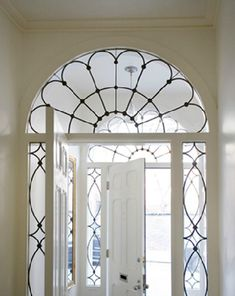 beautiful leaded glass door surround