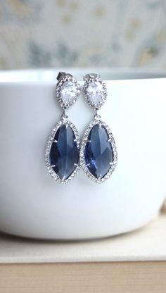 LUX Rhodium Plated Cubic Zirconia Navy Blue Sapphire Blue Dark Blue Teardrop Earrings 925 Ear Post. Bridal Jewelry. Something Blue Wedding by MAROLSHA - https://www.etsy.com/listing/160095116/lux-rhodium-plated-cubic-zirconia-navy?ga_search_query=BLUE&ref=shop_items_search_33