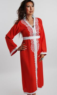 Orange  Moroccan Caftan Dress Long  Lella  by MaisonMarrakech, $85.99