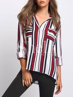 Multicolor+Stripe+Pockets+Dip+Hem+Blouse+21.99