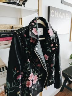 DIY Gucci Motorcycle Jacket - find a inexpensive leather jacket then use acrylic paint to paint a floral pattern all over.
