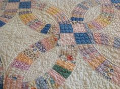 Vintage 1920's Double Wedding Quilt with Petal Border by Patalier