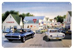 Conoco Gas Station, Classic Camaro, Classic Mustang, by Jack Schmitt, Metal Sign, Hot Rod, Gas Oil Garage Art, FREE Shipping JS-4 by HomeDecorGarageArt on Etsy
