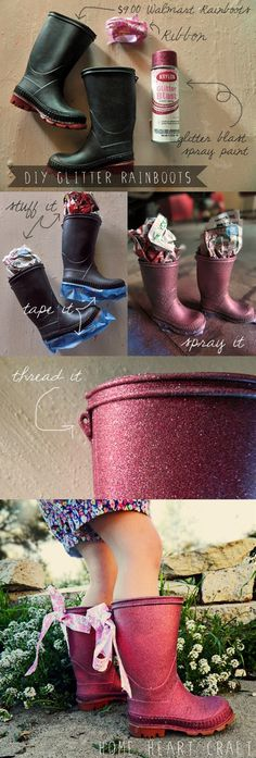 DIY Glitter Rain boots, so cute...how cute is that? - Click image to find more DIY & Crafts Pinterest pins