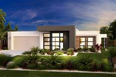 Find 4 bedroom house plans in VIC. Refine the search and discover the best 4 bedroom home designs & floor plans for your dream home. Modern House Facades, Modern Bungalow House, Bungalow House Plans, Flat Roof House, Facade House, Contemporary House Plans, Modern House Plans, House Front Design, Modern House Design