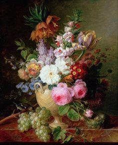 Cornelis van Spaendonck (1743-1827) - Still life with flowers and grapes