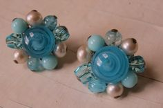Aqua Blue Glass Cluster Earrings Vintage by CreativeWorkStudios