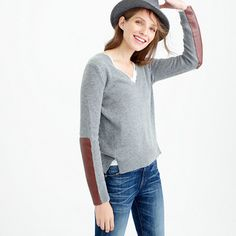 V-neck sweater with leather panels