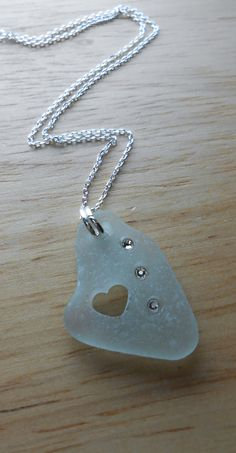 Sea Glass Necklace Beach Glass Jewelry BE MINE by SeaFindDesigns, $30.00