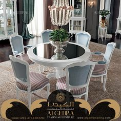 ALGEDRA Trading & Furniture is specialized in providing modern, classic Turkish & Italian furniture for residential and commercial projects. Italian Furniture, Dining Room Furniture, Dining Table, Table Decorations, Classic, Modern, Home Decor, Derby, Trendy Tree