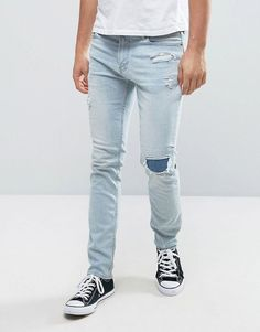 Hollister Skinny Crop Jeans in Stretch Bleach Wash with Rip Repair - B