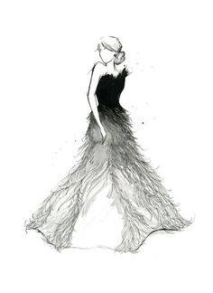 draw, fashion, sketch, feathers, dress, black and white