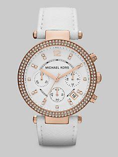 Michael Kors Crystal & Rose Goldtone Stainless Steel Chronograph Watch #PinToWin
