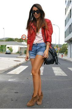 ruby red leather Zara jacket - periwinkle Mango shorts - peach striped Zara top - MOVES LIKE JAGGER - LA_blog's blog - Chictopia