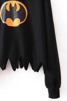 abaday   abaday Batman Print Toothed Black Sweatshirt, The Latest Street Fashion Latest Street Fashion, Latest Fashion For Women, Womens Fashion, Batman Outfits, Sweatshirts Online, Teeth, Street Style, Skirts, Sweaters
