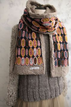 mina perhonen tarte scarf Textile Patterns, Textiles, Japanese Fashion Designers, Shabby Look, Folk Fashion, Japanese Outfits, Wool Applique, Shawls And Wraps, Wearable Art