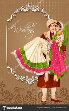 Indian couple in wedding ceremony of India Illustration , Wedding Symbols, Hindu Wedding Cards, Indian Wedding Invitation Cards, Wedding Invitation Background, Wedding Invitation Card Design, Unique Wedding Invitations, Wedding Stationery, Invites, Wedding Card Design Indian