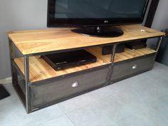 meuble industriel tv métal bois doré