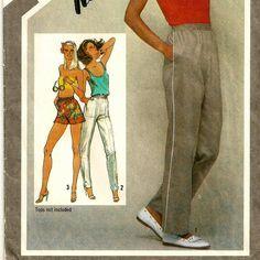 A Straight Leg, Pull-On, Elastic Waistline, Casual Athletic-Style Pants Pattern, Vintage 1980