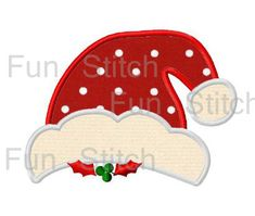 Christmas santa hat applique machine embroidery design. Dibujos De  SombrerosFranelasFranelillas DecoradasNavidad ... 3beb531f461