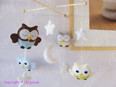 Baby Mobile  Owl Mobile  Nursery Mobile  Baby Decor  by hingmade, $85.00