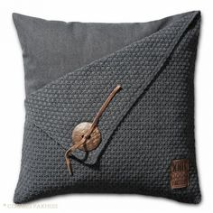 Minimalistic home decor: The pillowcase is *knitted,* but I am sure linen stitch or spike stitch would yield equally stunning, crocheted results