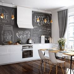 stylish Adorable Small Dining Room Design Ideas To Copy Today Small Dining, Small Living Rooms, Kitchen Chalkboard, Chalkboard Walls, Sweet Home, Small Space Interior Design, Country Kitchen Designs, Küchen Design, Design Ideas