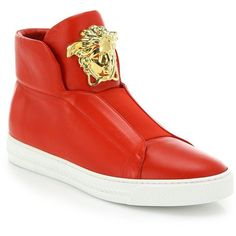 Versace First Idol Leather High-Top Sneakers : Versace Shoes (2,175 BAM) ❤ liked on Polyvore featuring men's fashion, men's shoes, men's sneakers, apparel & accessories, mens leather shoes, mens black leather high top sneakers, versace mens shoes, versace mens sneakers and mens high top sneakers