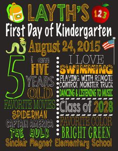 First Day of School Sign, First Day of Kindergarten Chalkboard Sign Printable Photo Prop, Personalized Last Day or Back to School, ANY GRADE