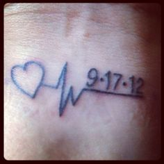 Memorial tattoo ~ My Dad's last heartbeat and date he passed. by janis