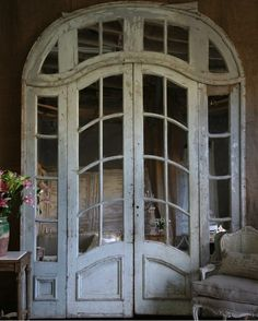 French doors with waved panels