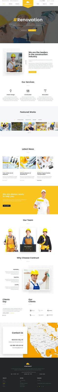 Construction is a business #PSD template for construction, #renovation #companies website with 5 homepages option and 37 PSD pages download now➯ https://themeforest.net/item/construct-mutilconcept-construction-psd-template/16913460?ref=Datasata