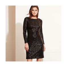 Ralph Lauren Lauren Sequined Cutout-Back Dress ($240) ❤ liked on Polyvore featuring dresses, white cocktail dresses, sequin dresses, white sequin dress, white dress and long sleeve cocktail dresses