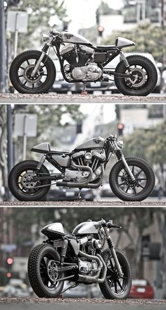 Harley-Davidson Sportster by Headcase Kustom Sportster Cafe Racer, Hd Sportster, Cafe Bike, Cafe Racer Bikes, Cool Motorcycles, Vintage Motorcycles, Bobbers, Choppers, Moto Fest