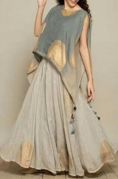 Buy Printed Cape by Kaveri at Aza Fashions Pakistani Dresses Casual, Indian Gowns Dresses, Indian Fashion Dresses, Dress Indian Style, Pakistani Dress Design, Indian Designer Outfits, Girls Fashion Clothes, Silk Kurti Designs, Kurta Designs Women