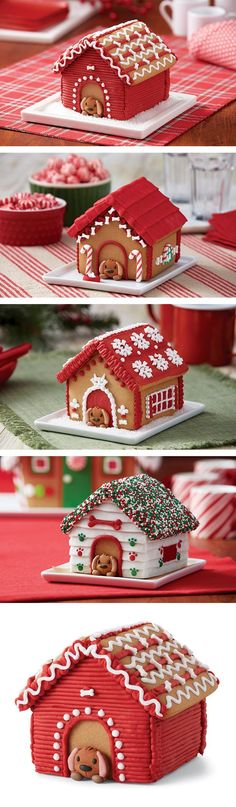 Add a gingerbread doghouse to your gingerbread house ideas. 4 puppy perfect ways to decorate your gingerbread doghouse kit. by darlene Gingerbread House Parties, Gingerbread Village, Christmas Gingerbread House, Noel Christmas, Christmas Goodies, Christmas Desserts, Christmas Treats, Gingerbread Cookies, Christmas Decorations