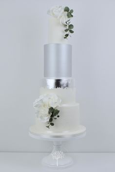 wedding cakes silver Roses and Silver Lustre wedding cake by Blossom Tree Cake Company, Harrogate, North Yorkshire Floral Wedding Cakes, Cool Wedding Cakes, Elegant Wedding Cakes, Wedding Cake Designs, Wedding Cake Toppers, Pretty Cakes, Beautiful Cakes, Decoration Patisserie, Fantasy Cake